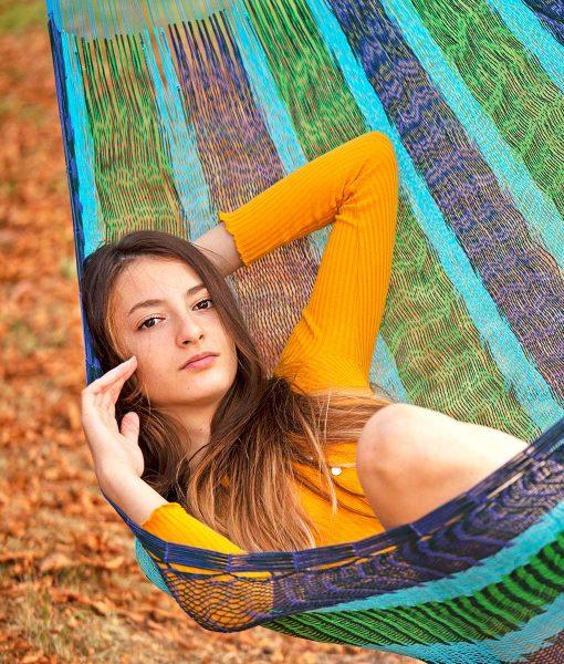 Мексикански плетен хамак двоен Blue Mint Rada 3
